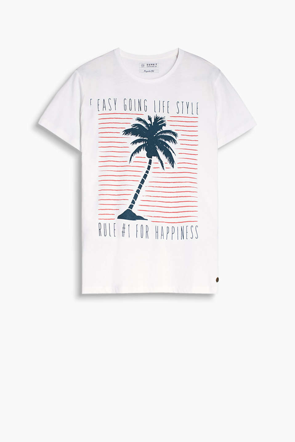 Velvety palm tree print T-shirt made of 100% cotton