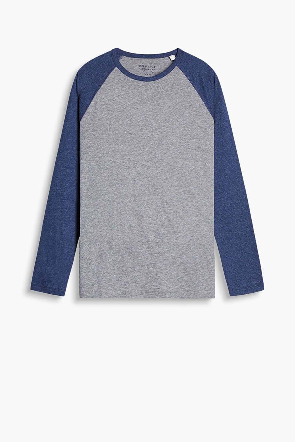 Long sleeve top in soft blended cotton with raglan sleeves