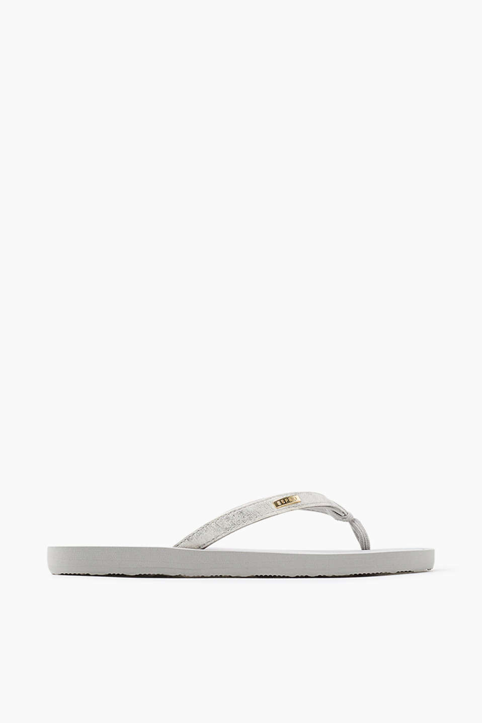 City slip slops with straps in a metallic antique finish