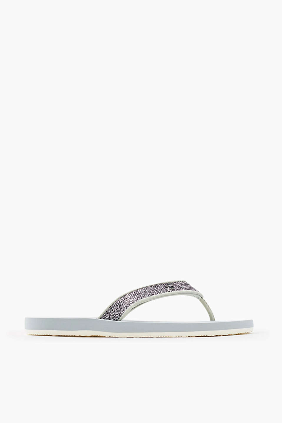 City slip slops with textured glittery straps