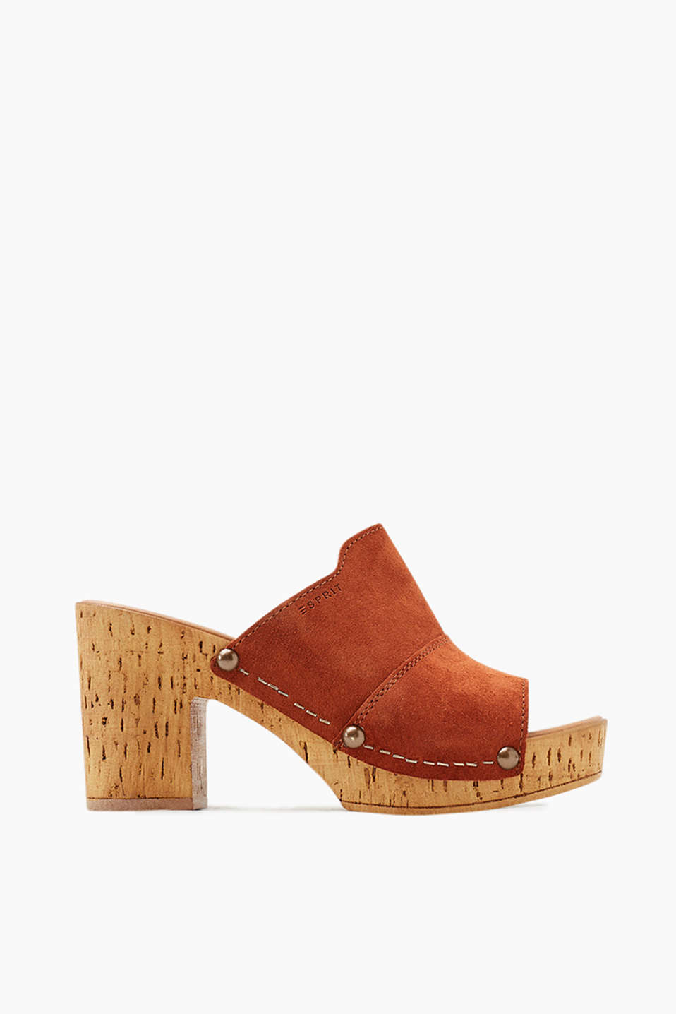Clog with stud details in soft suede