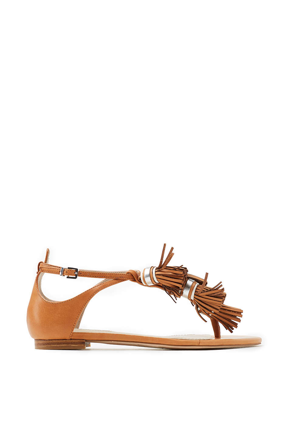 In a trendy, metallic look: sandals with crossed-over ankle straps, made of cowhide leather
