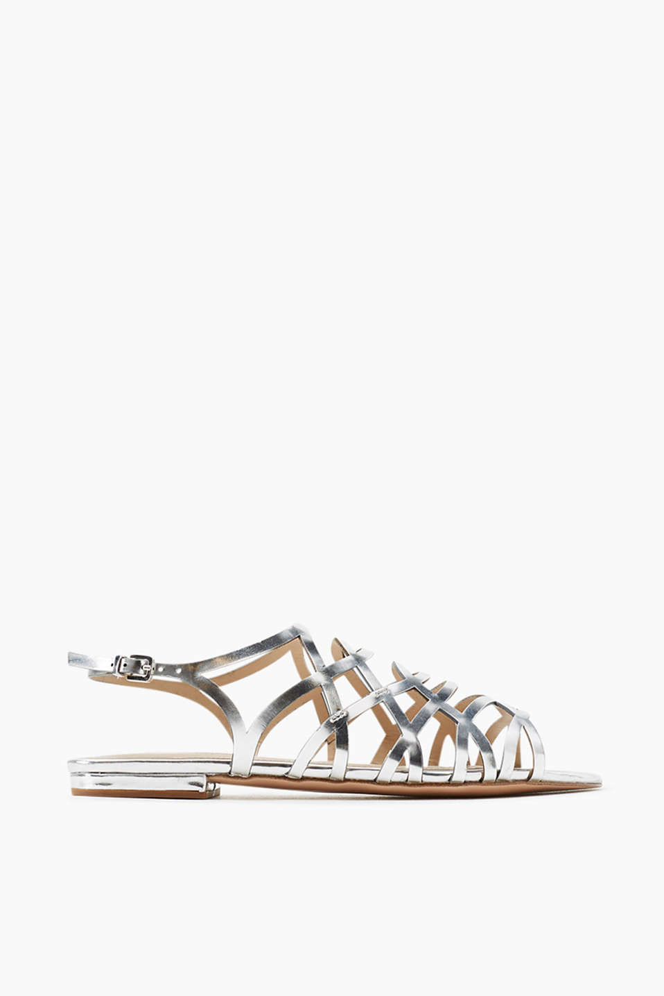 Sandals with femininely styled straps in a trendy, metallic look