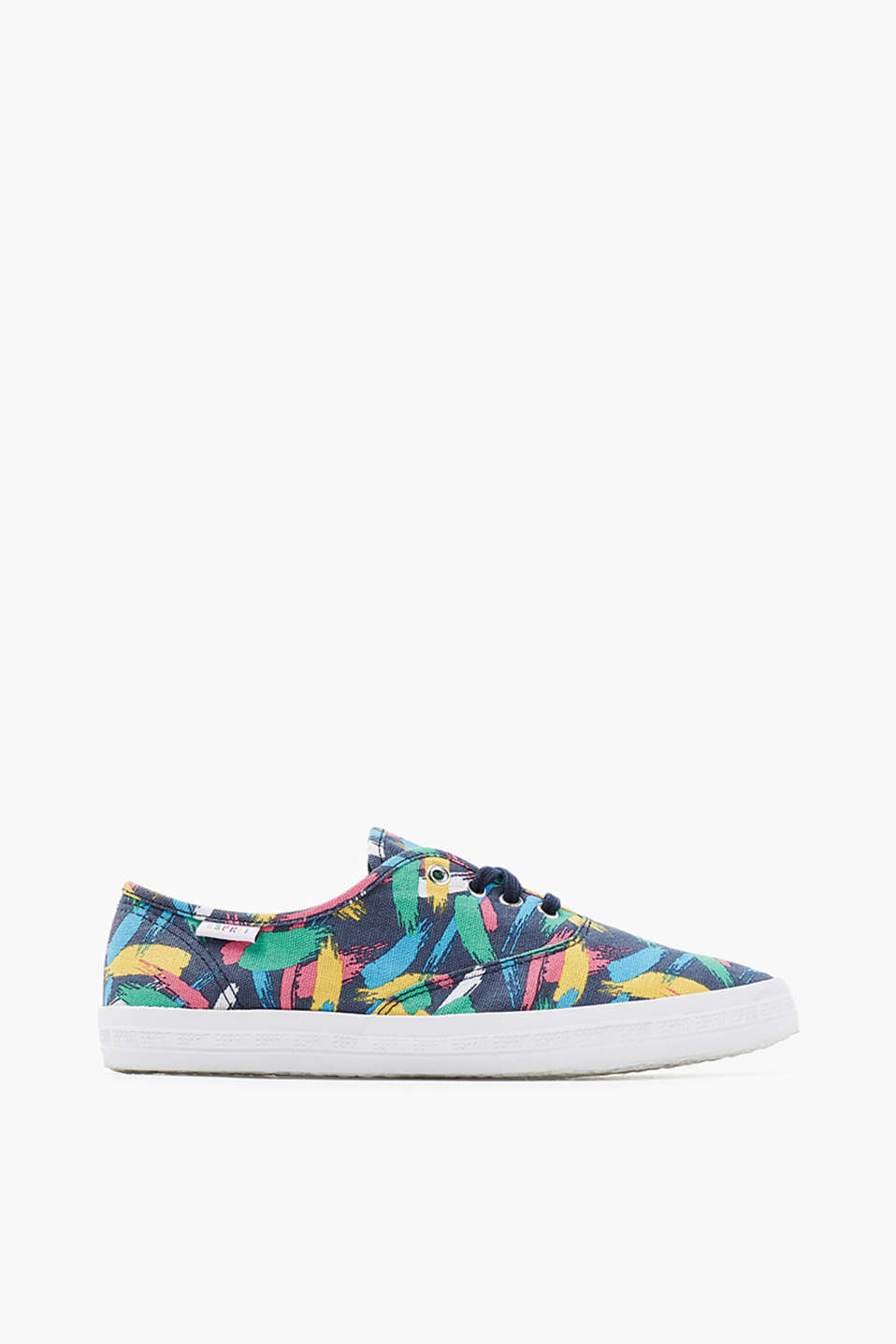 Retro Collection - Bright print trainers with a logo sole, in cotton canvas