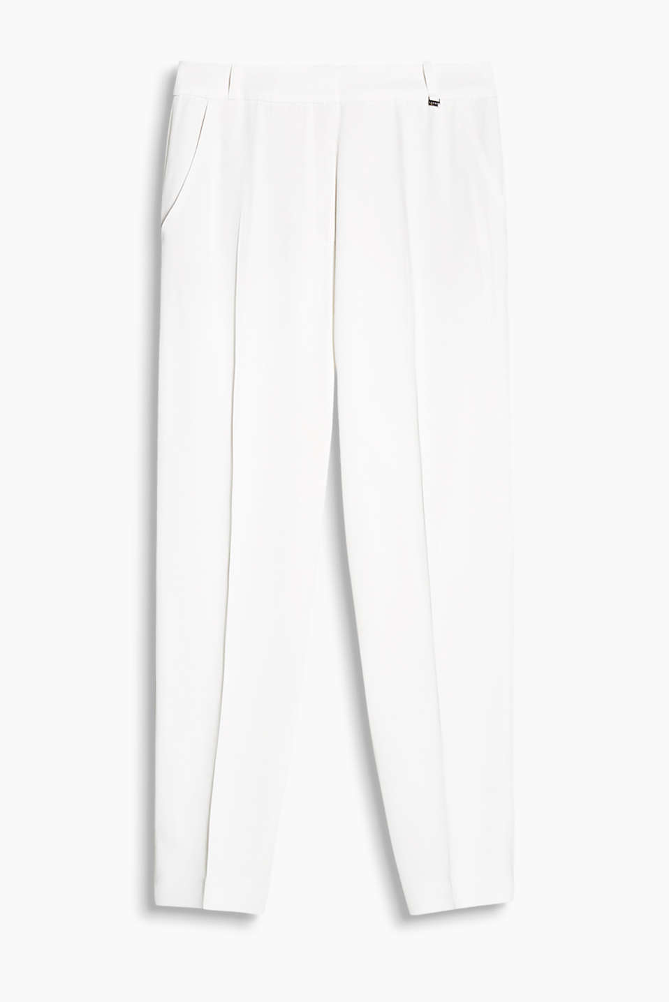Cropped trousers with pressed pleats in flowing fabric