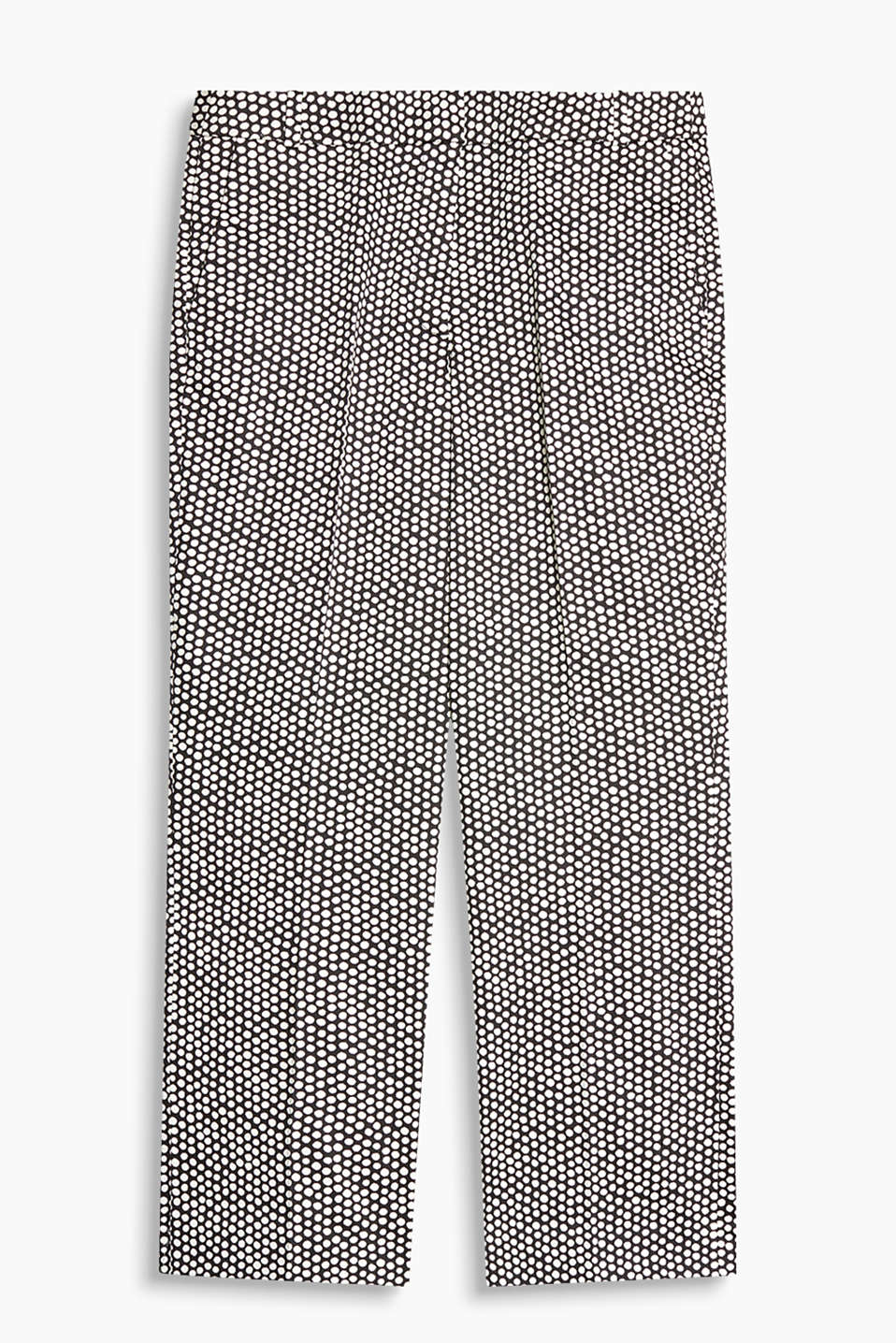Stretch-pants i kick-flared-stil med småmønstret print