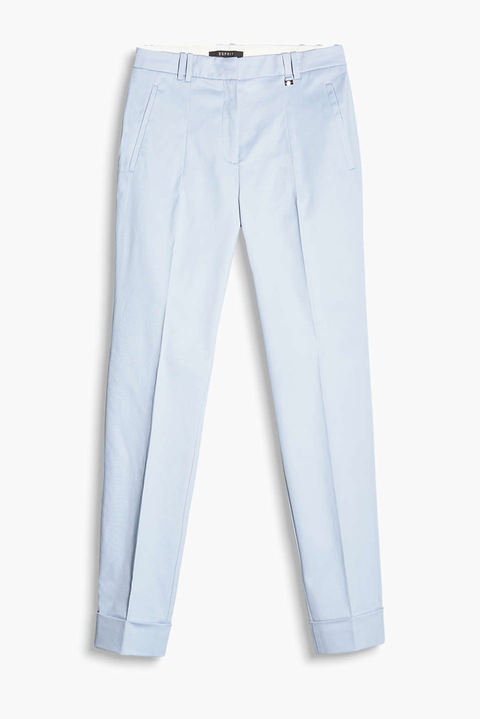 Ankle-length twill trousers with fixed turn-up hems, cotton/stretch