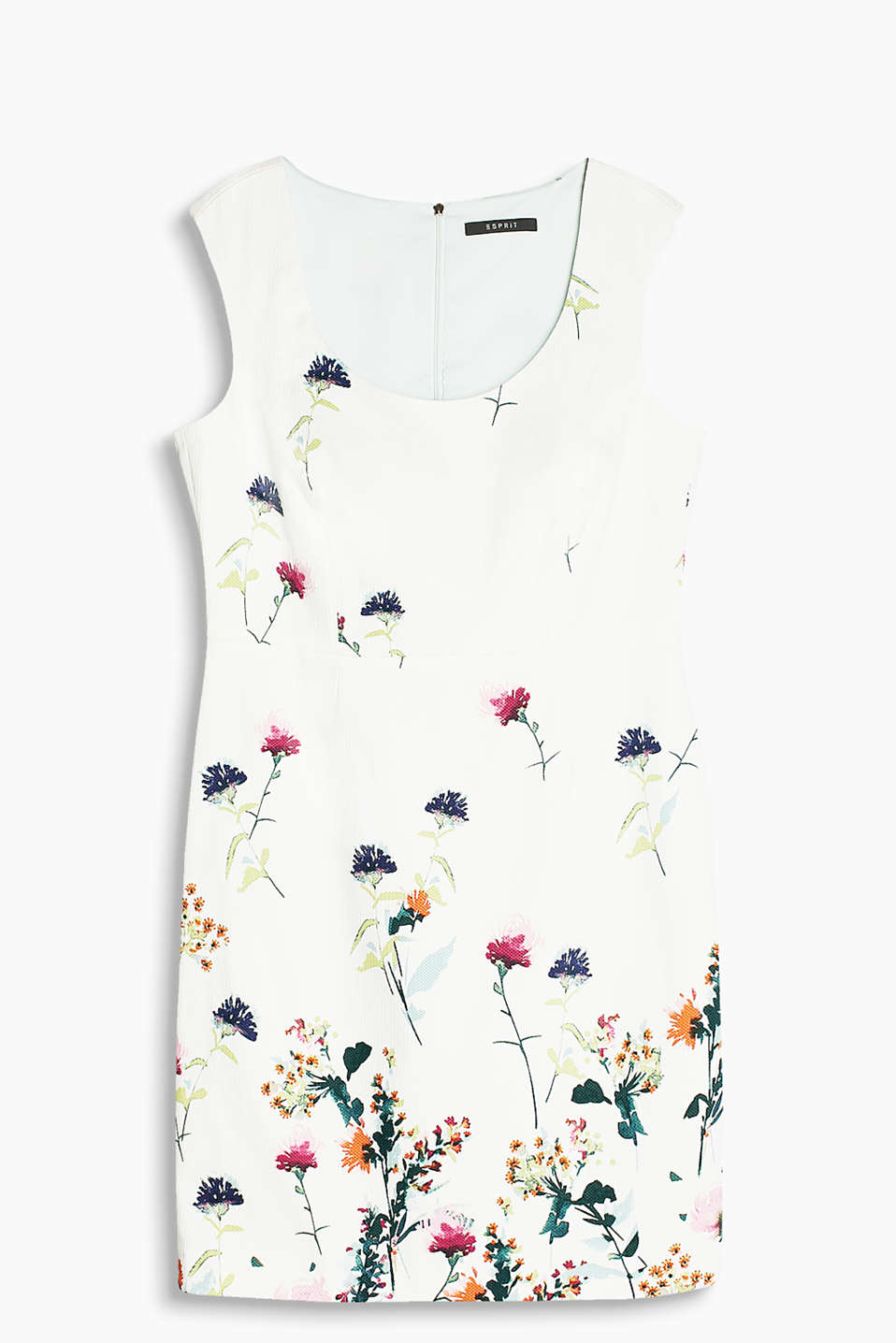 Finely textured piqué sheath dress in a delicat eplain colour or with a feminine floral print