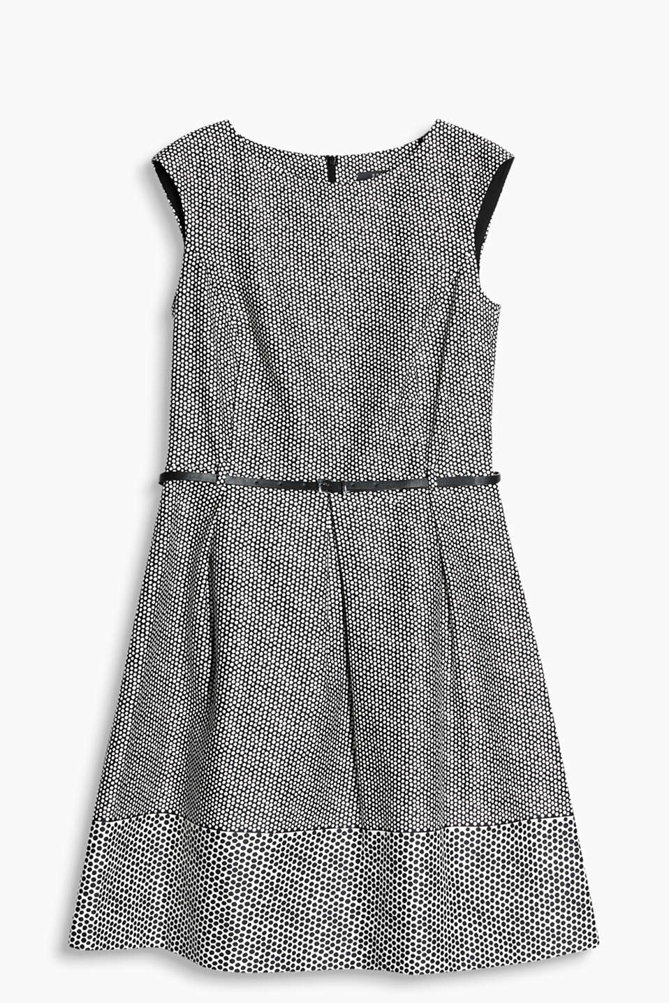 Stretch cotton dress with a modern, mixed polka dot pattern, narrow belt and pleated skirt
