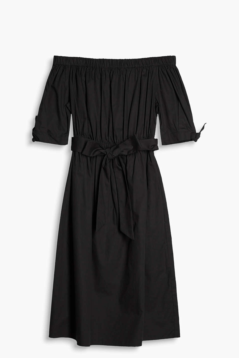 Stylish off-the-shoulder dress with bow details and a tie-around belt in 100% cotton