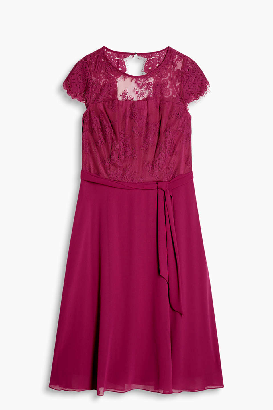 Charming dress with lace top section, flared chiffon skirt and tie-around belt