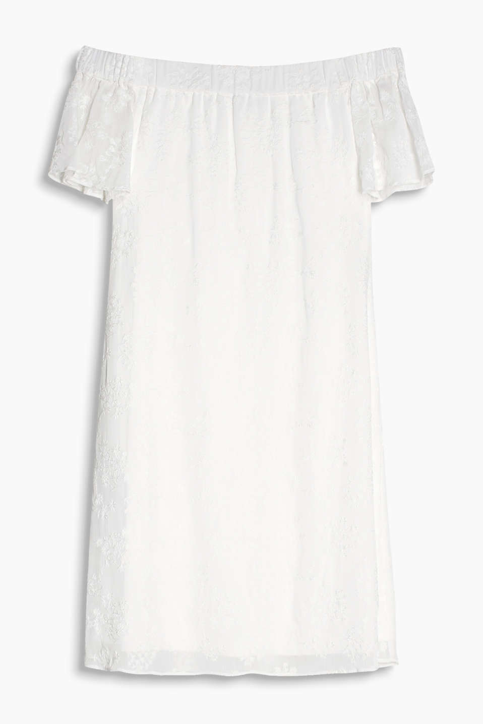 Finely crushed and feminine, off-the-shoulder dress with jacquard flowers