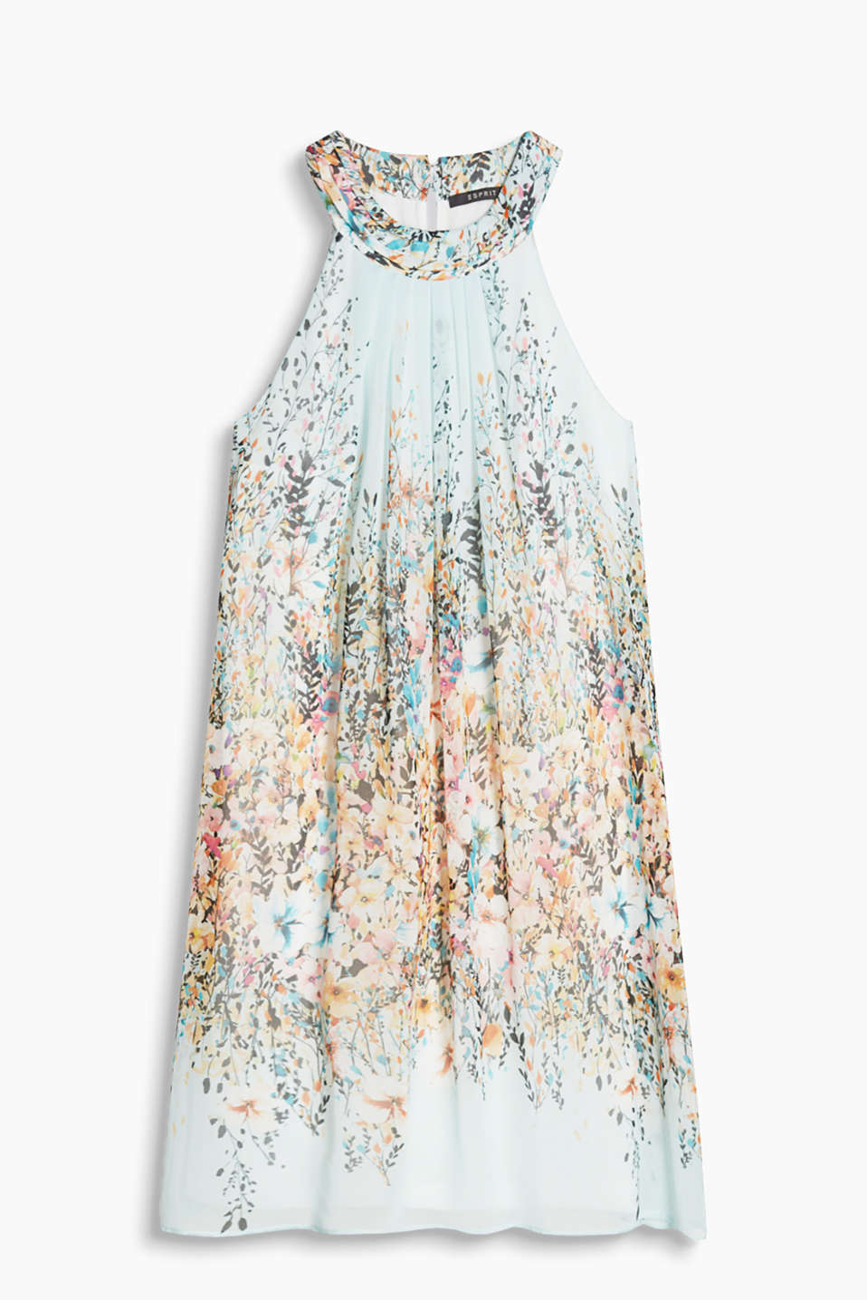 Delicate chiffon dress with a floral print and decorative pleating