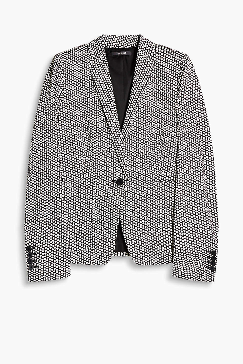 Fitted one-button blazer in stretch satin with a polka dot print