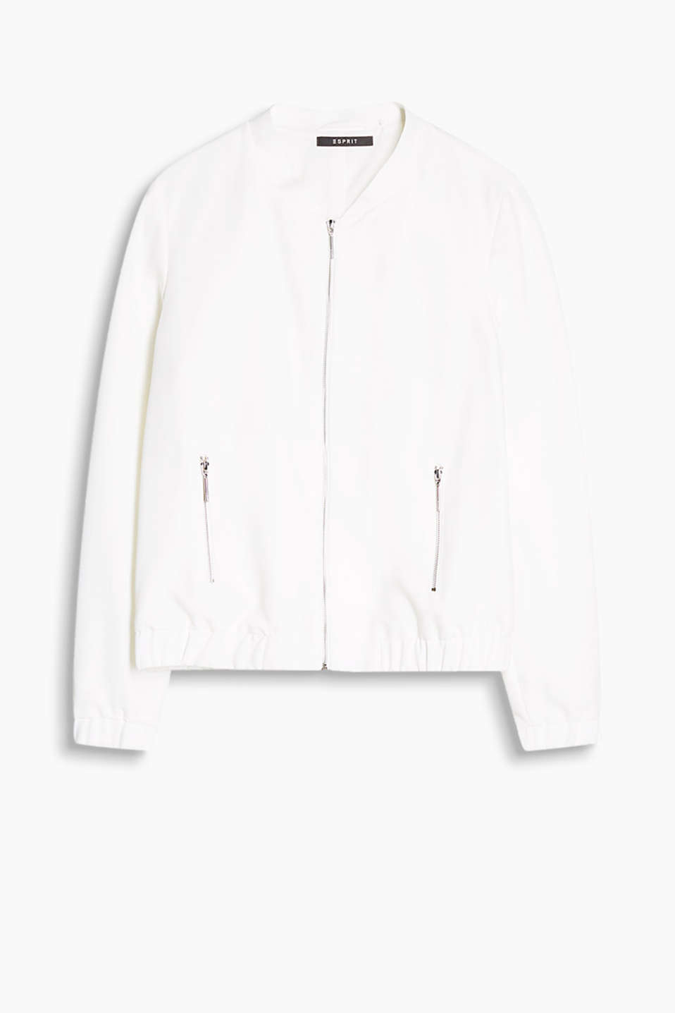 Flowing bomber jacket with zip pockets and elasticated cuffs