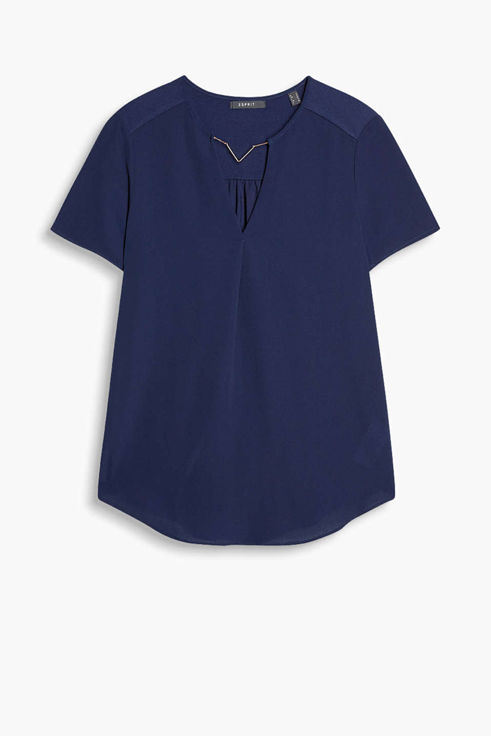 Blouse top with a decorative chain in textured fabric and soft jersey