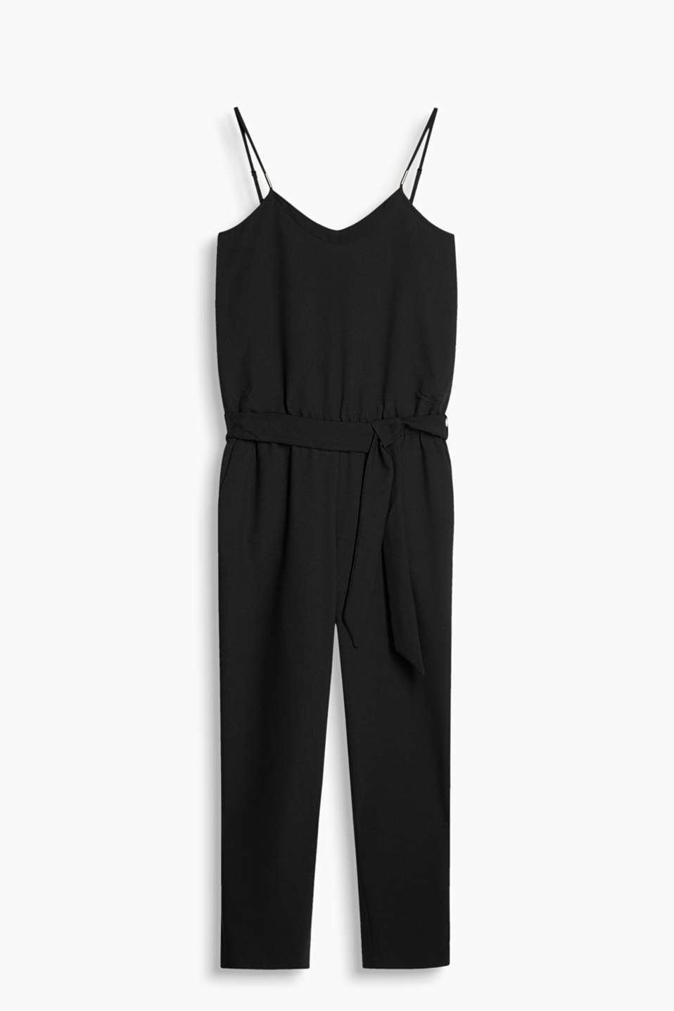 Flowing crêpe jumpsuit with adjustable spaghetti straps, a highlighted V-neckline and a wide tie-around belt