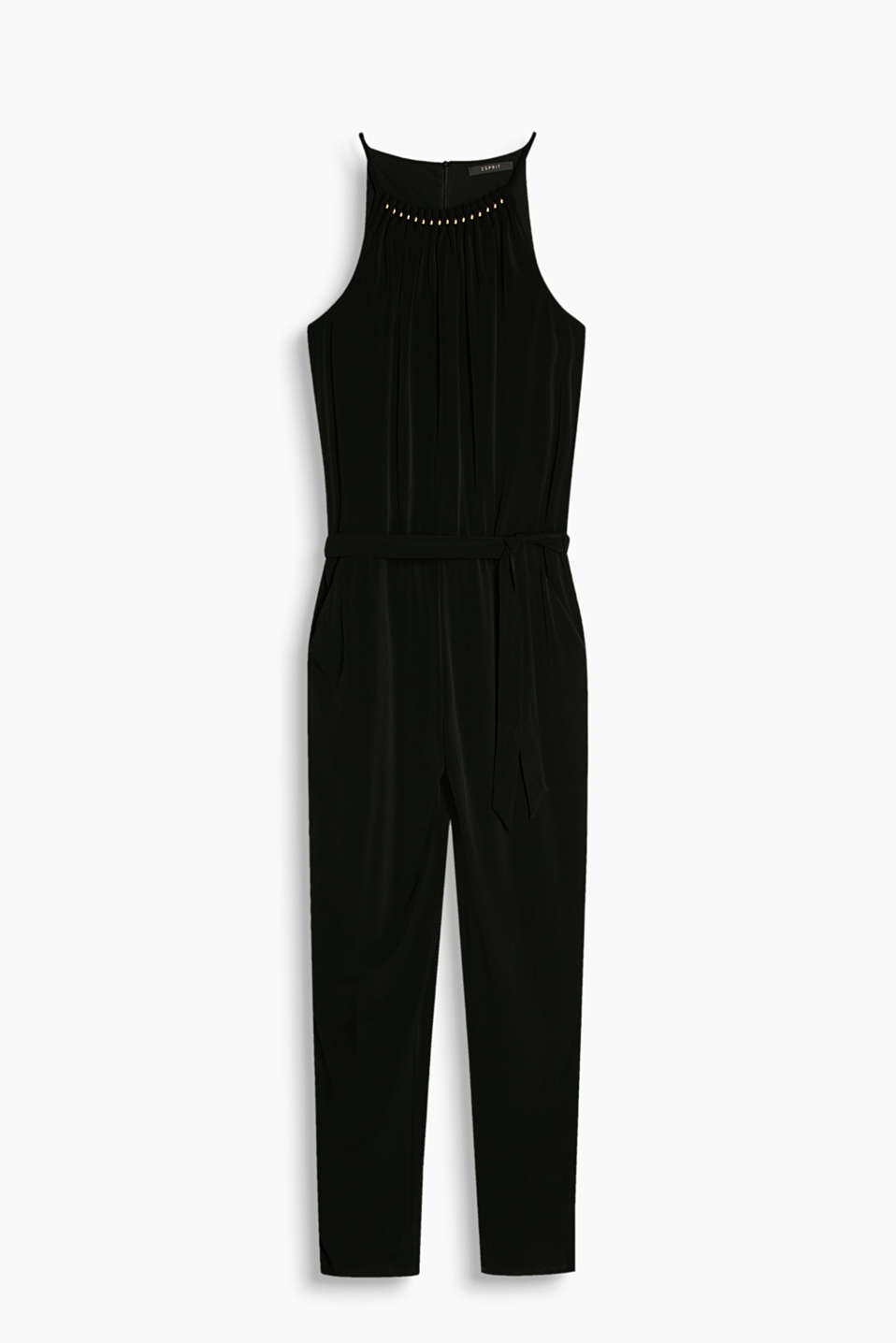 Fluid stretch jersey jumpsuit with an embellished neckline and American shoulders