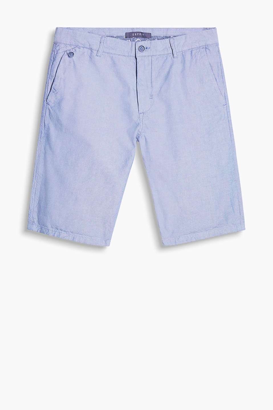 Melange cotton chambray shorts in a summery look