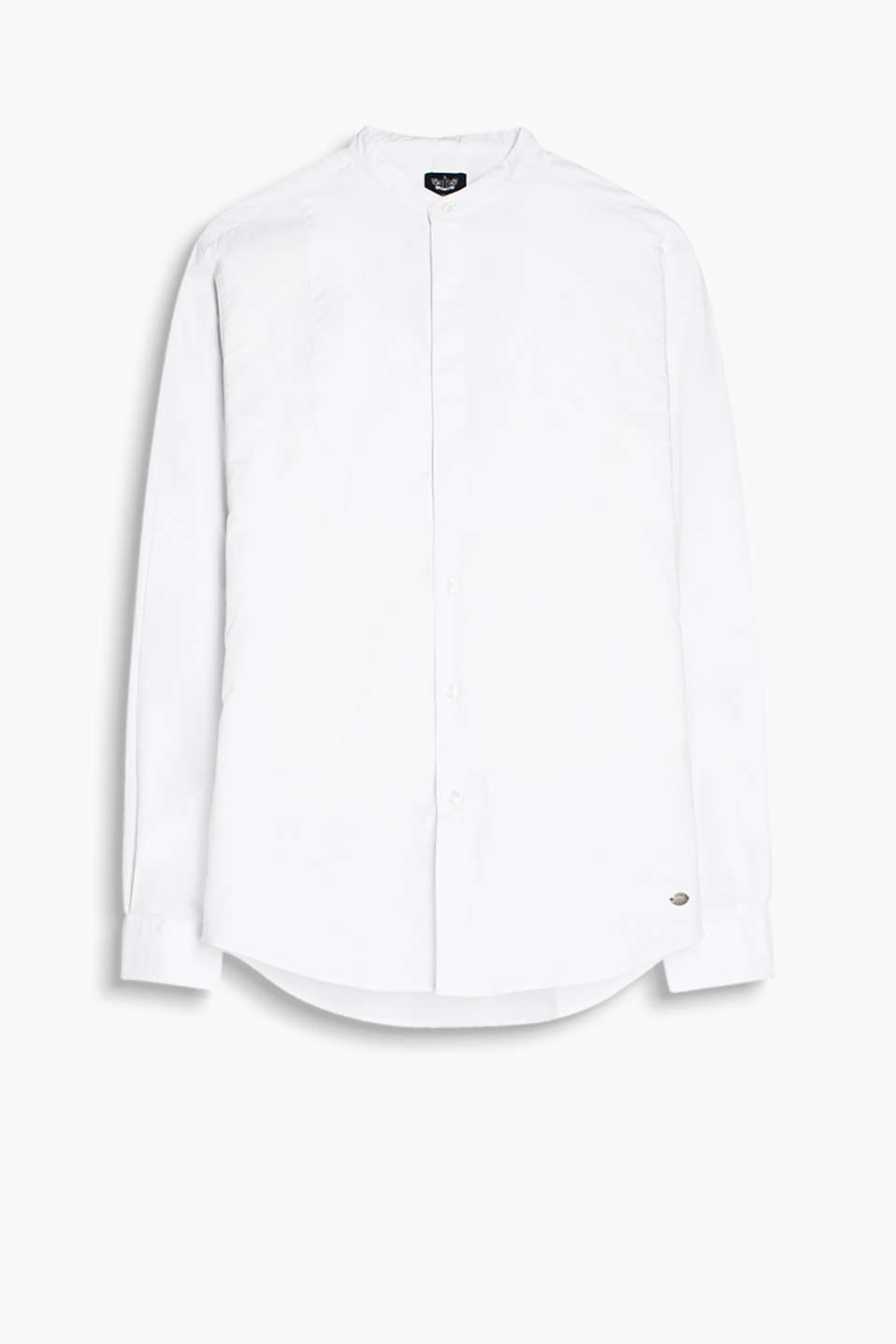 Made of 100% cotton: shirt with a stand-up collar and partially concealed button placket