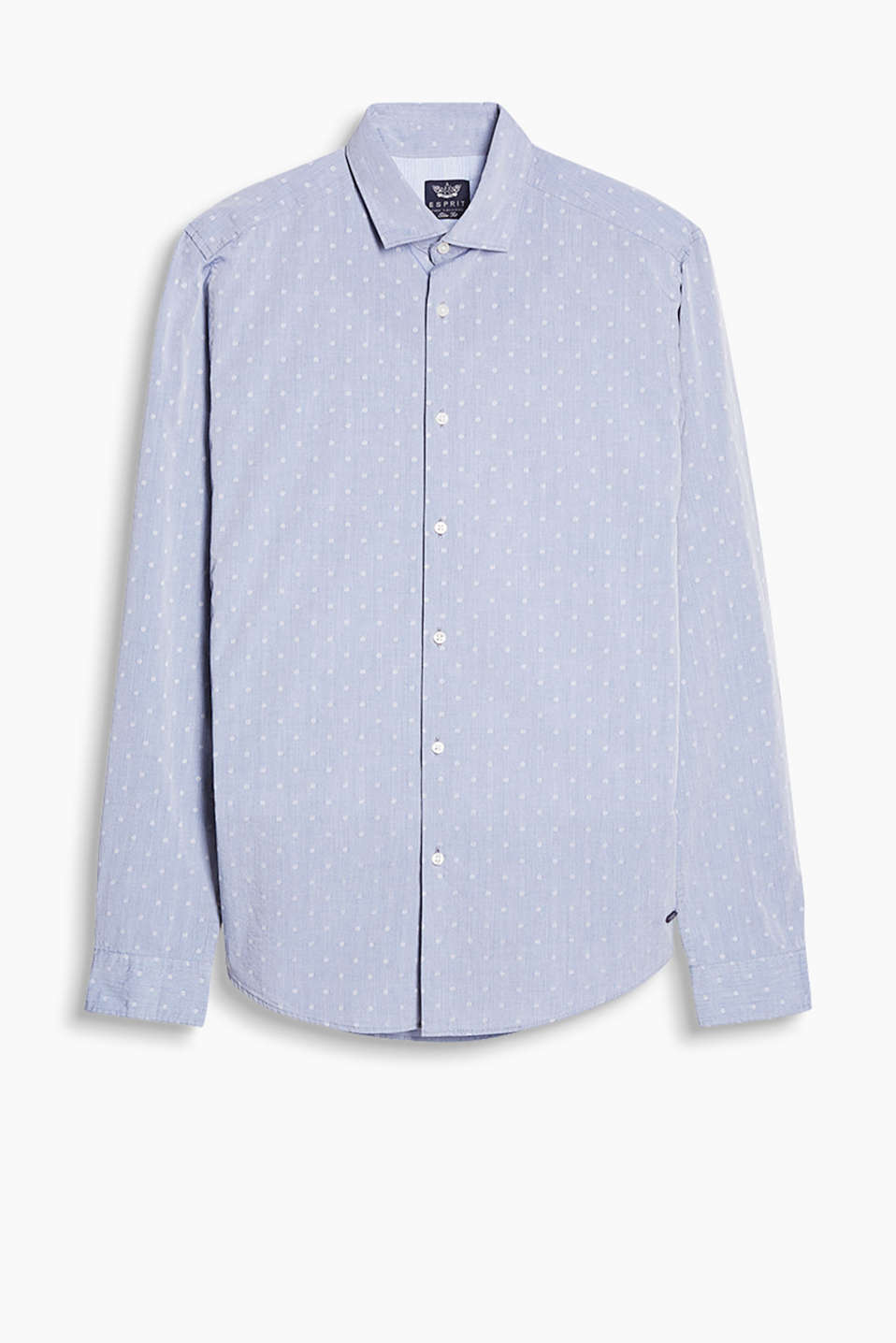 With interwoven polka dots and a shark collar: shirt in finely woven cotton