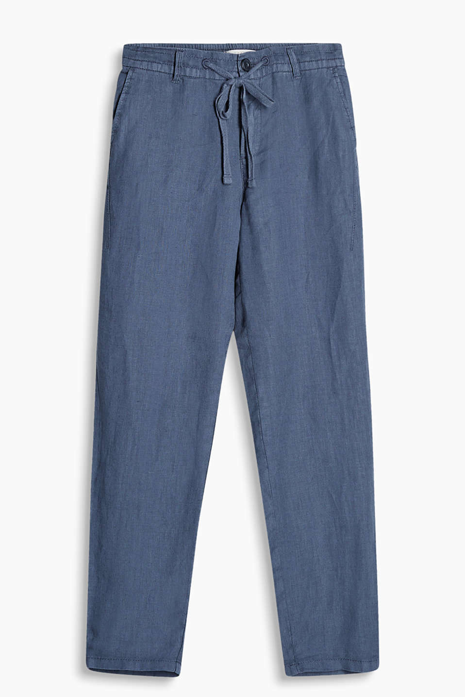 Relaxed trousers made of exceptionally high-quality, acclimatising linen fabric