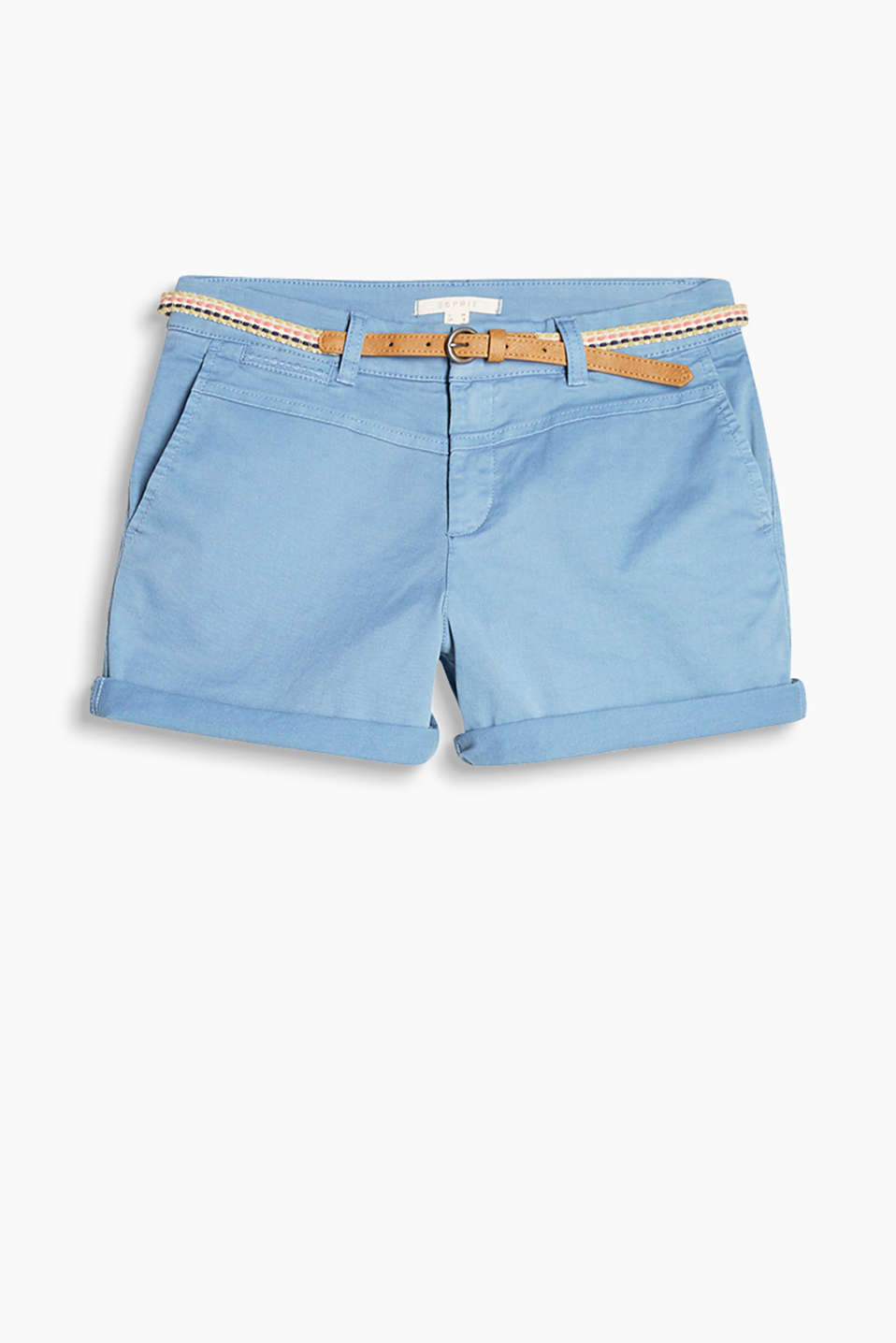 With a belt and a trendy garment wash: shorts in cotton with a percentage of stretch