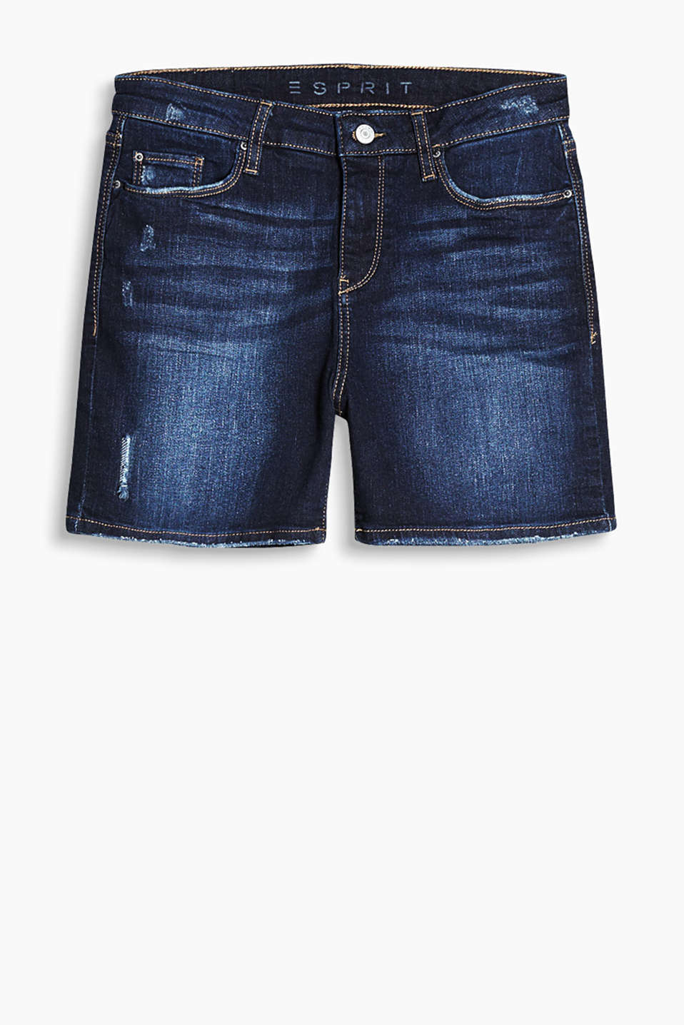 With a vintage finish: Stretch cotton denim shorts