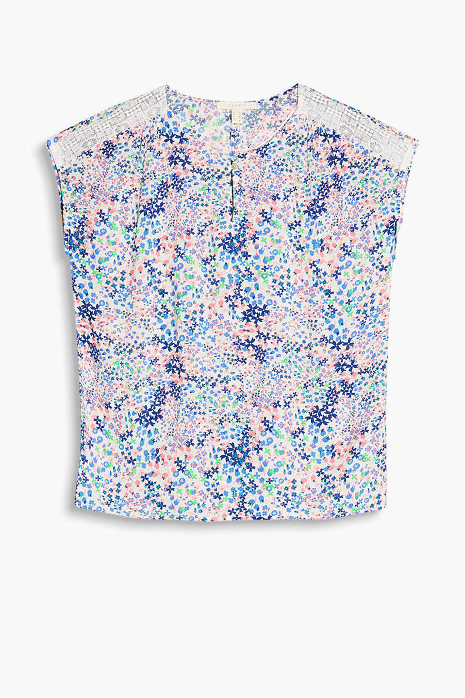 Delicate blouse with a floral print and romantic lace on the shoulders