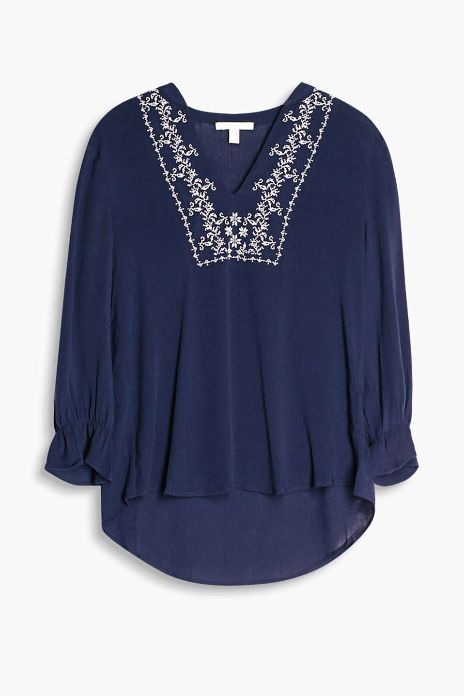 Floaty tunic with an embroidered neckline yoke