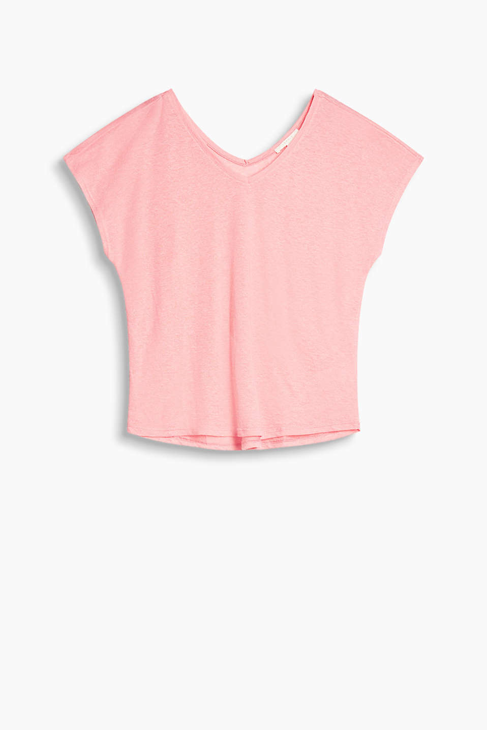 Lightweight top with plunging V-neck front and back, made of airy blended linen