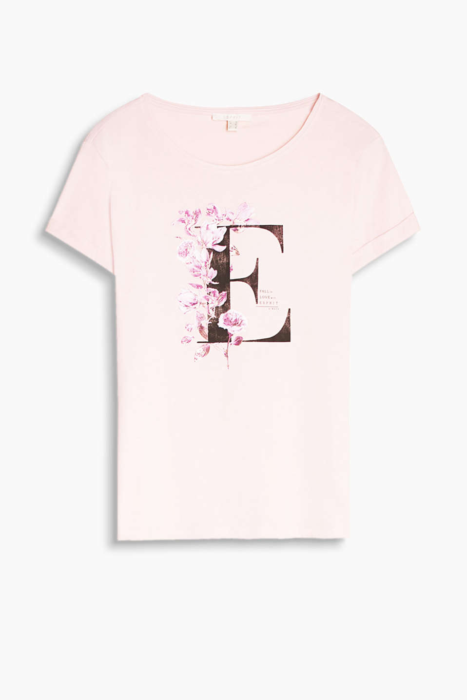 Loose, round neck T-shirt made of pure cotton with a romantic rose/letter print
