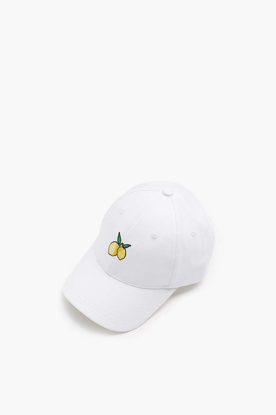 Baseball cap in comfortable blended cotton with lemon embroidery
