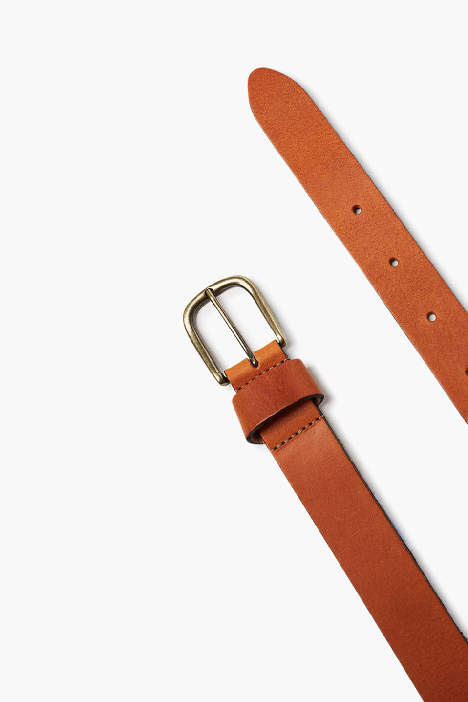 High-quality smooth leather belt with a rectangular metal buckle