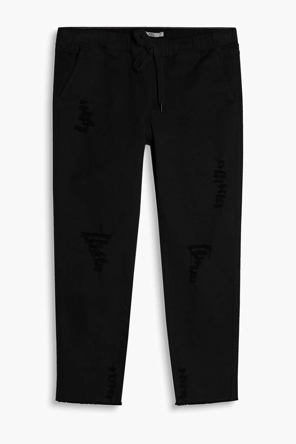 Ankle-length trousers in stretch cotton in a relaxed tracksuit bottom style