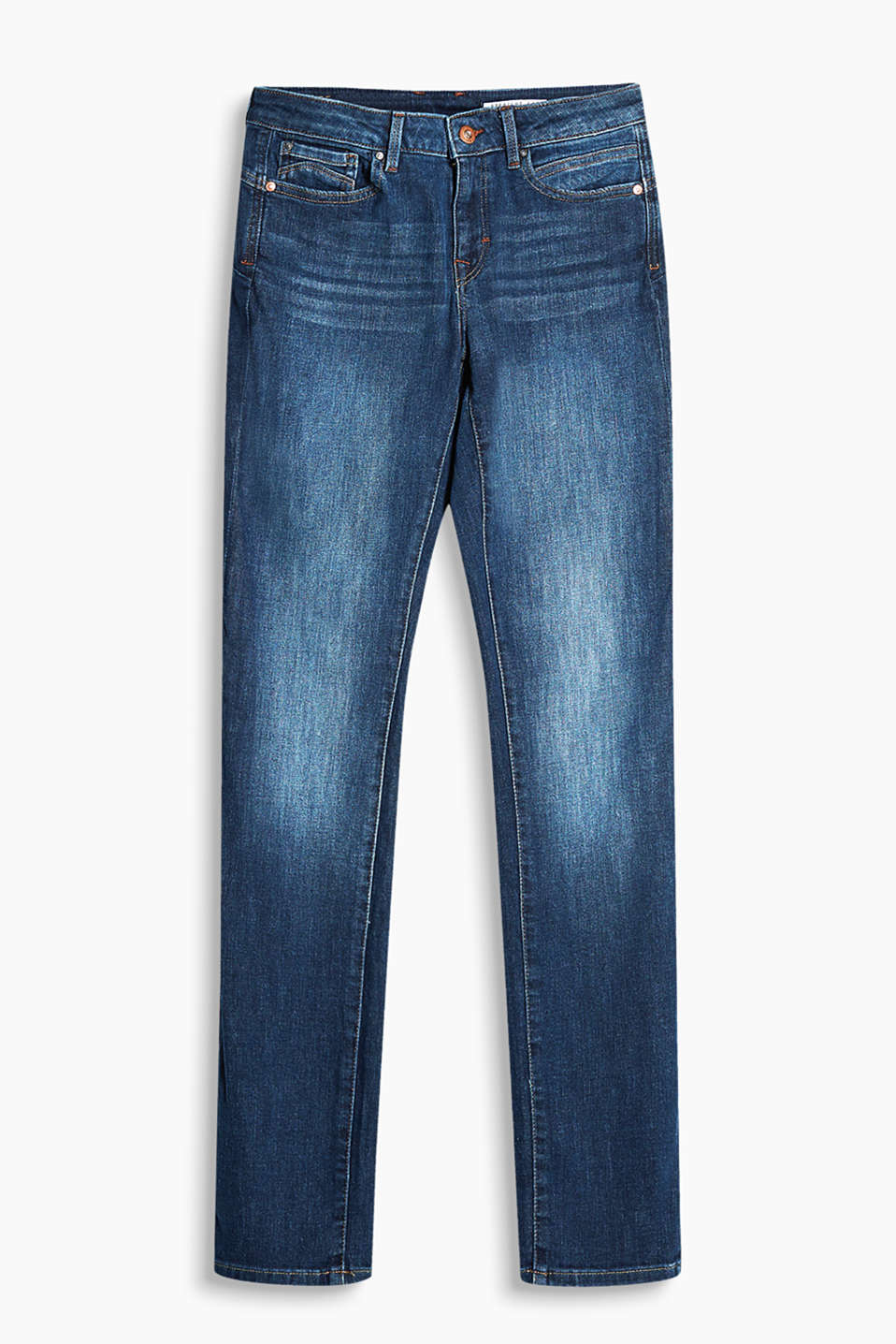 Slinky stretch jeans with flap pockets and authentic washed effects