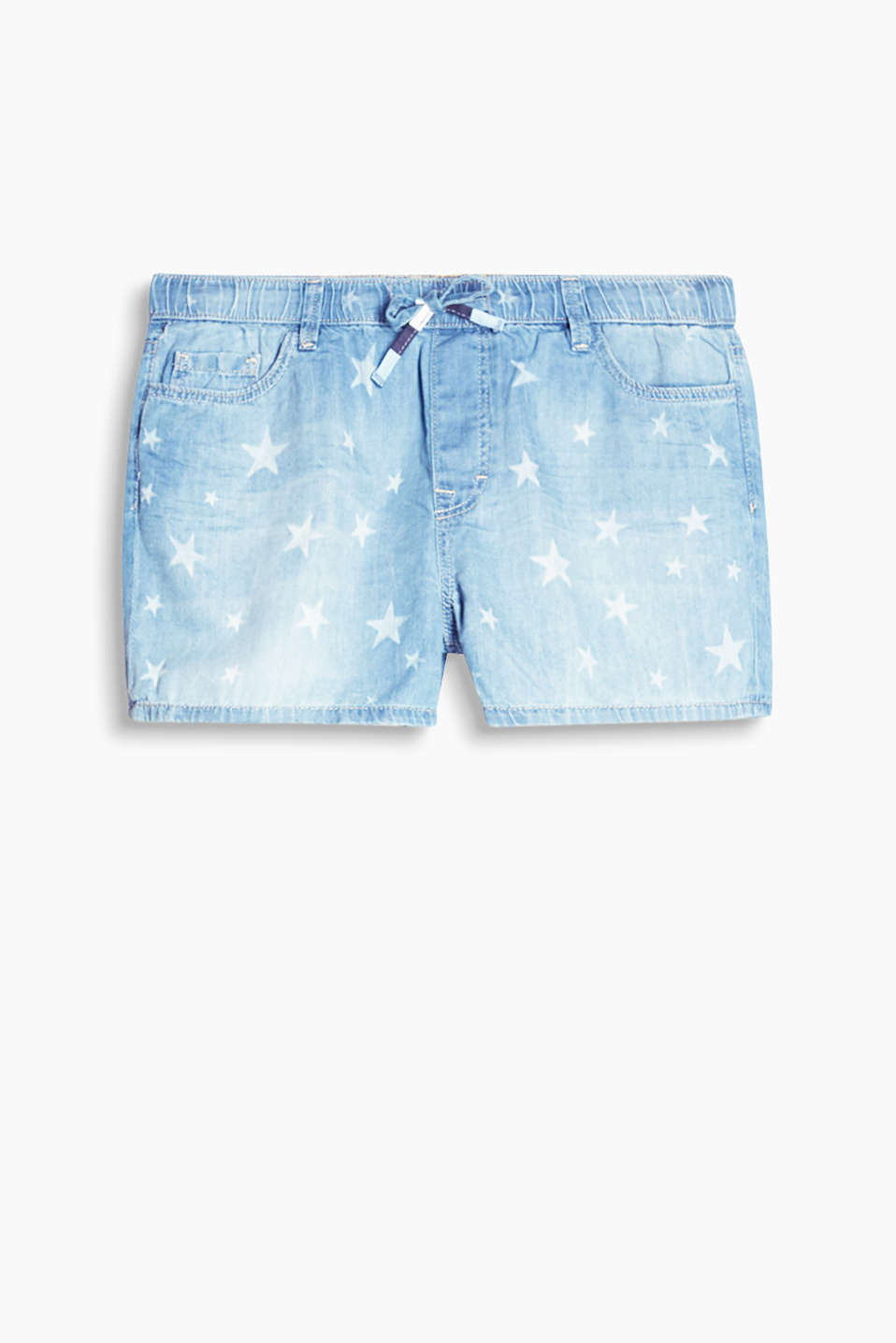 Summery lightweight denim shorts with a star print and elasticated waistband