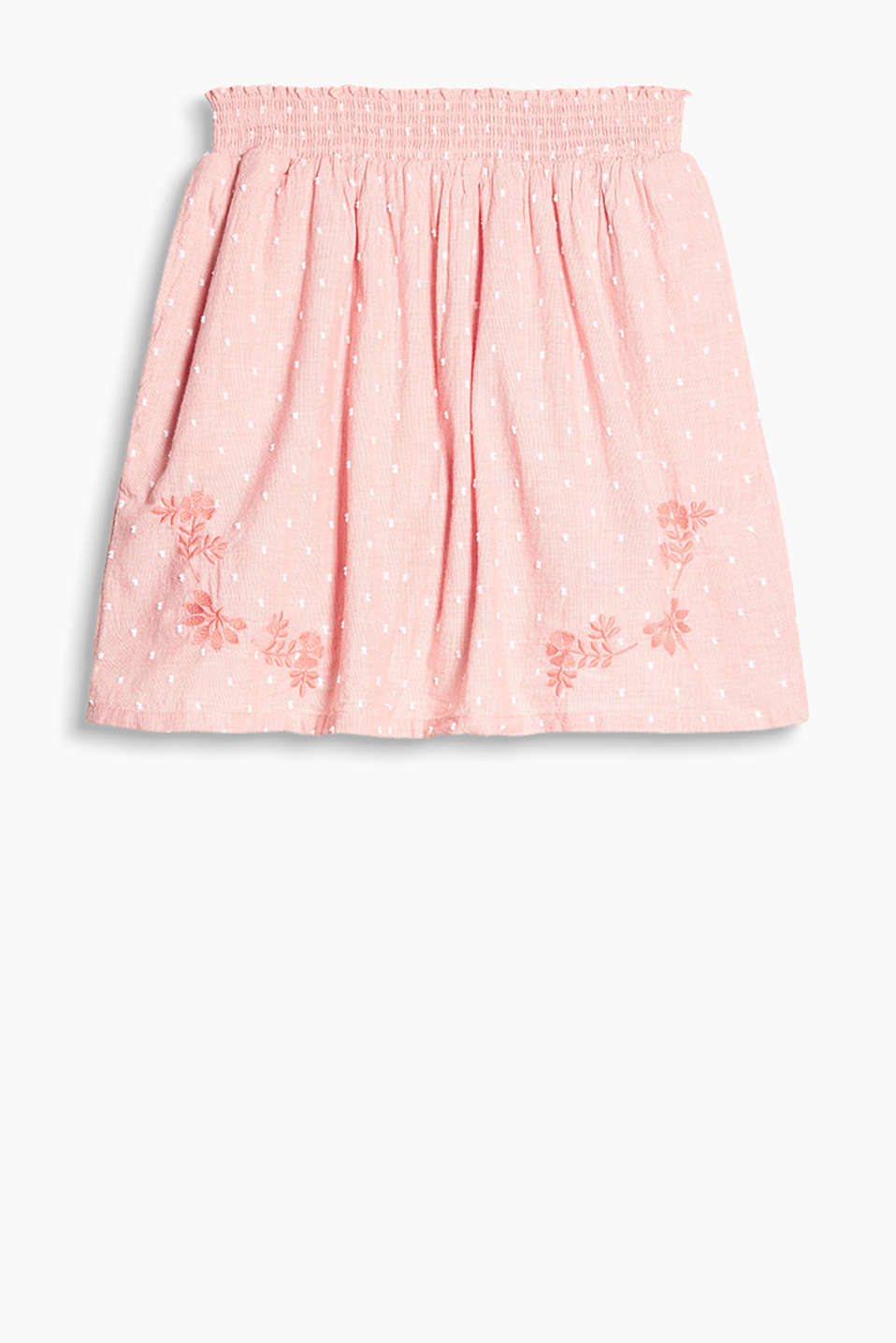 Floaty cotton skirt with an elasticated smocked hem and embroidery