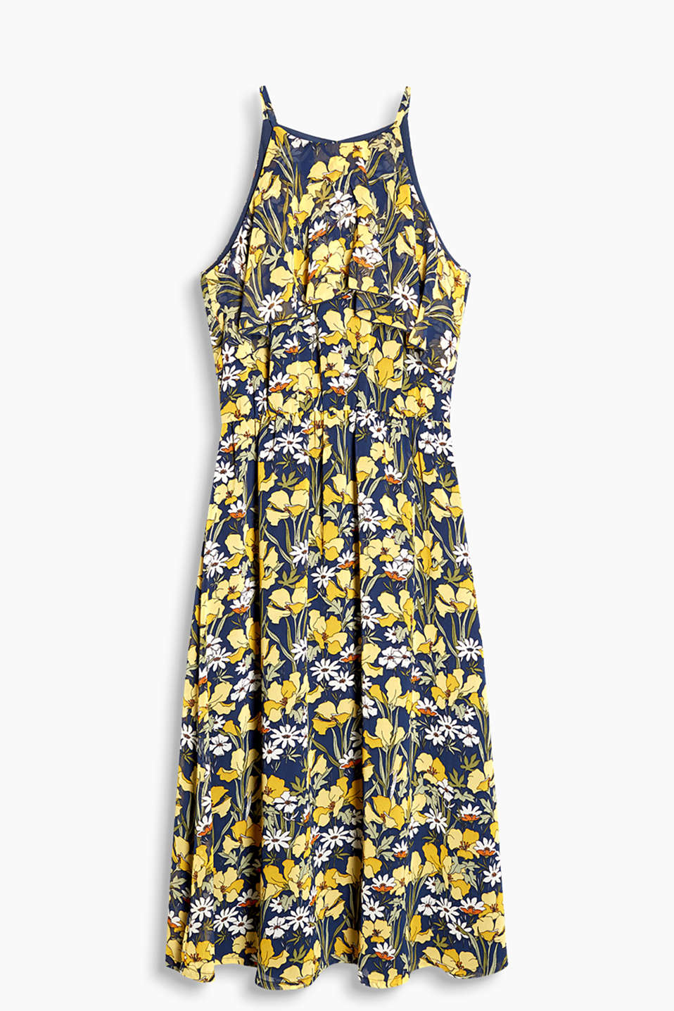 Midi dress in delicate chiffon with a bold floral print and a pretty flounce
