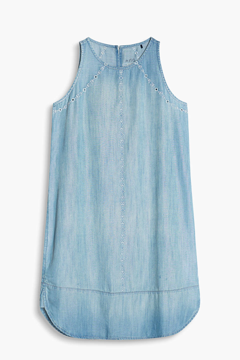 Sleeveless dress in pale summer denim with embroidery