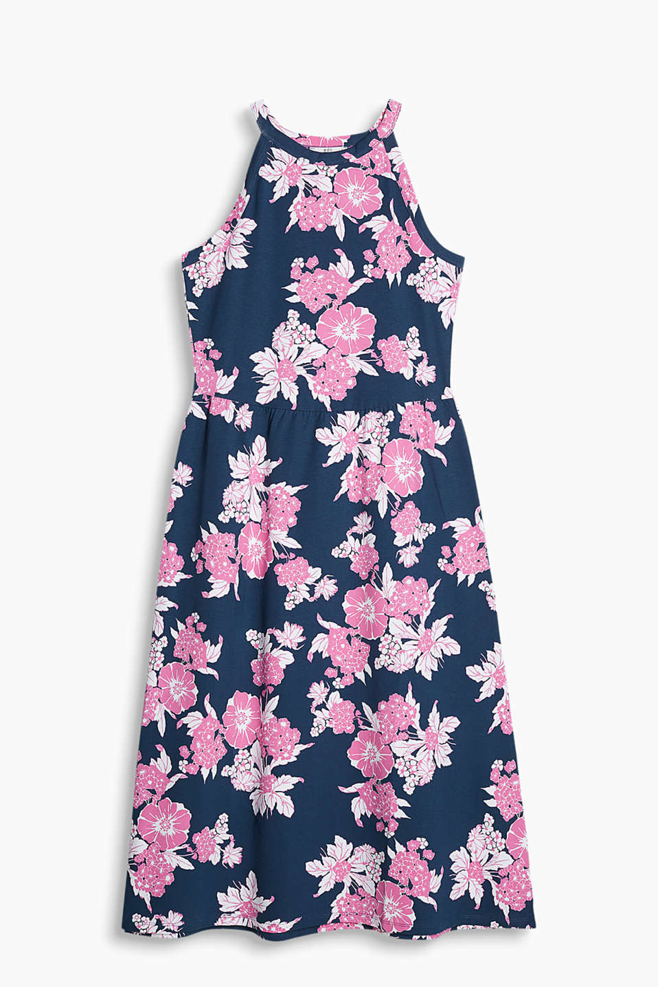 Flared A-line jersey dress in stretch cotton with an elaborate floral design