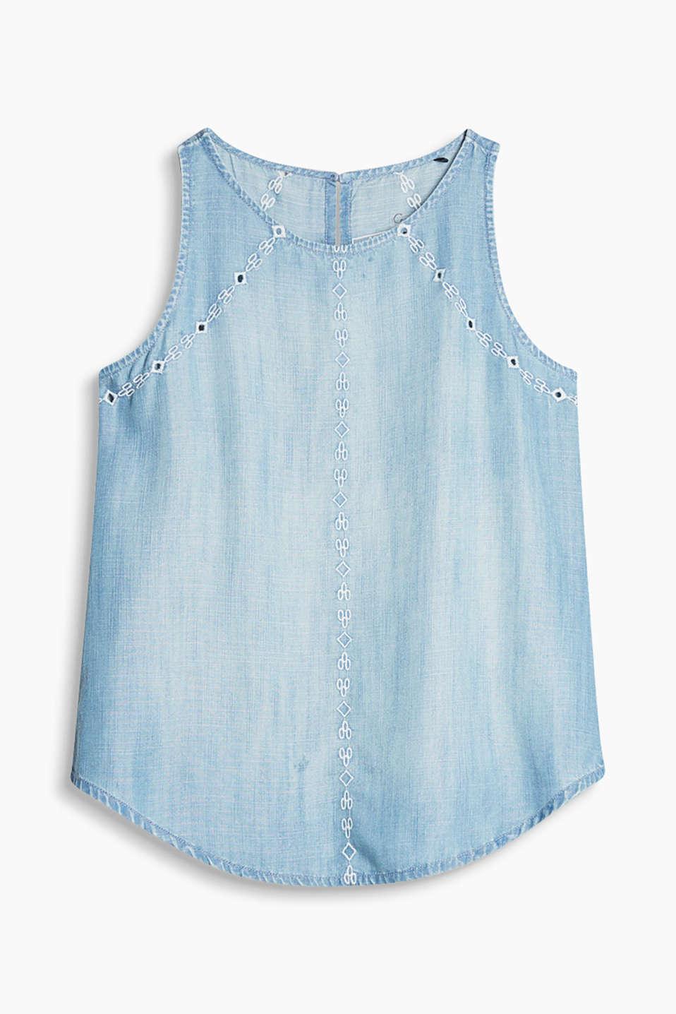 Ärmelloses Top aus hellem Sommer-Denim mit Stickerei