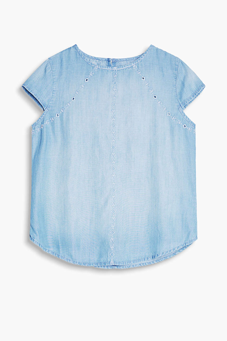 Summery, lightweight denim blouse with embroidery and a keyhole neckline
