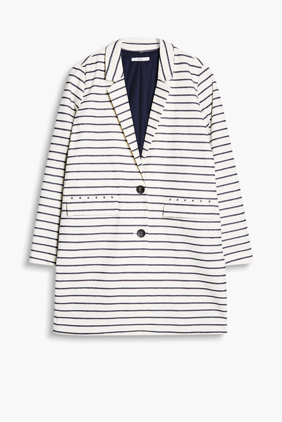 Straight-cut coat with a two-button fastening and fresh jacquard stripes
