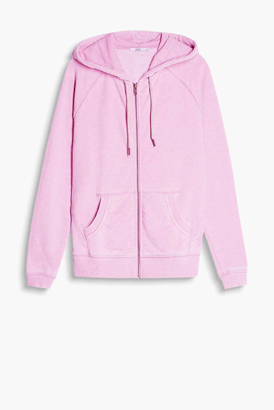 Soft zip-up sweatshirt with a hood and trendy colour effects