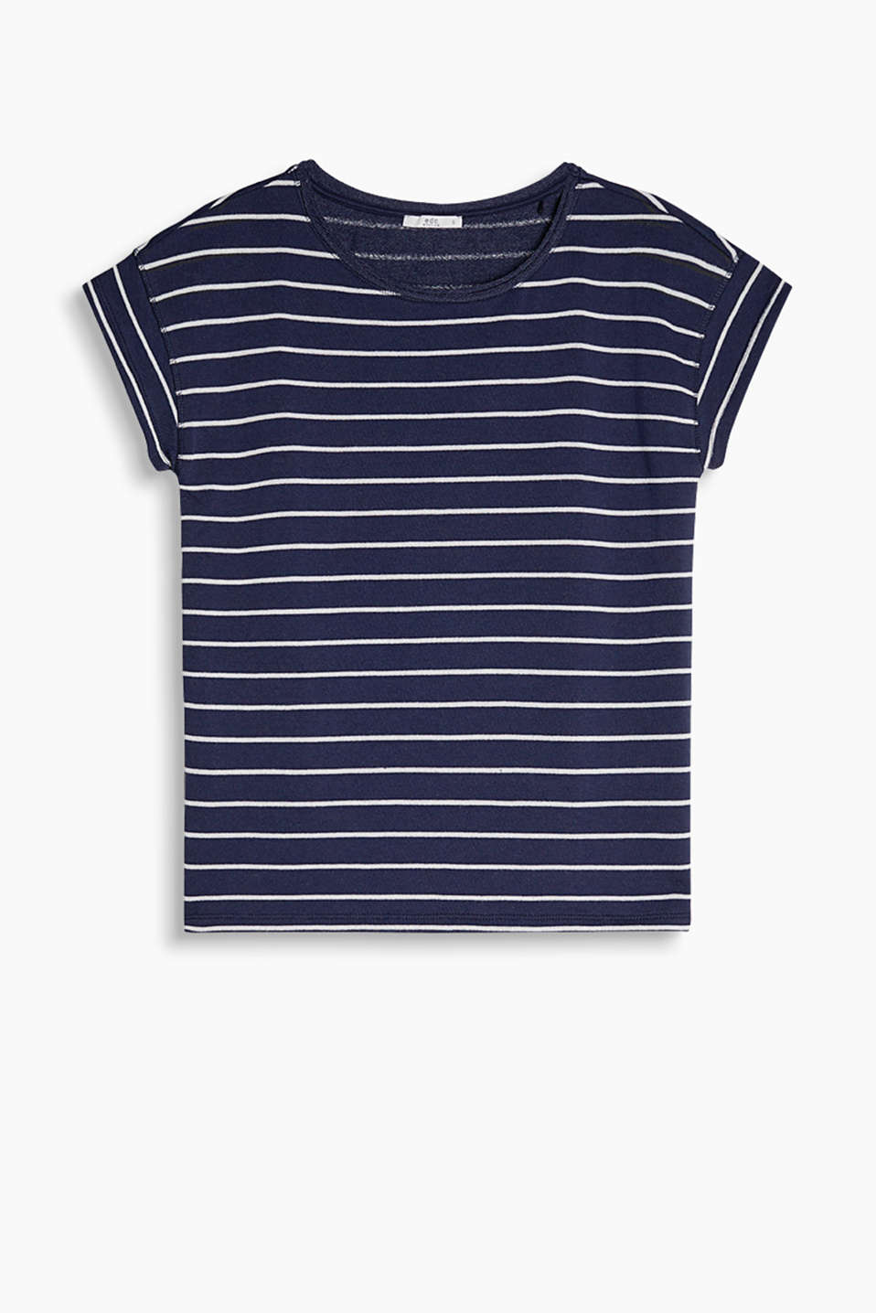 Easy-to-wear short-sleeved sweatshirt with fresh stripes