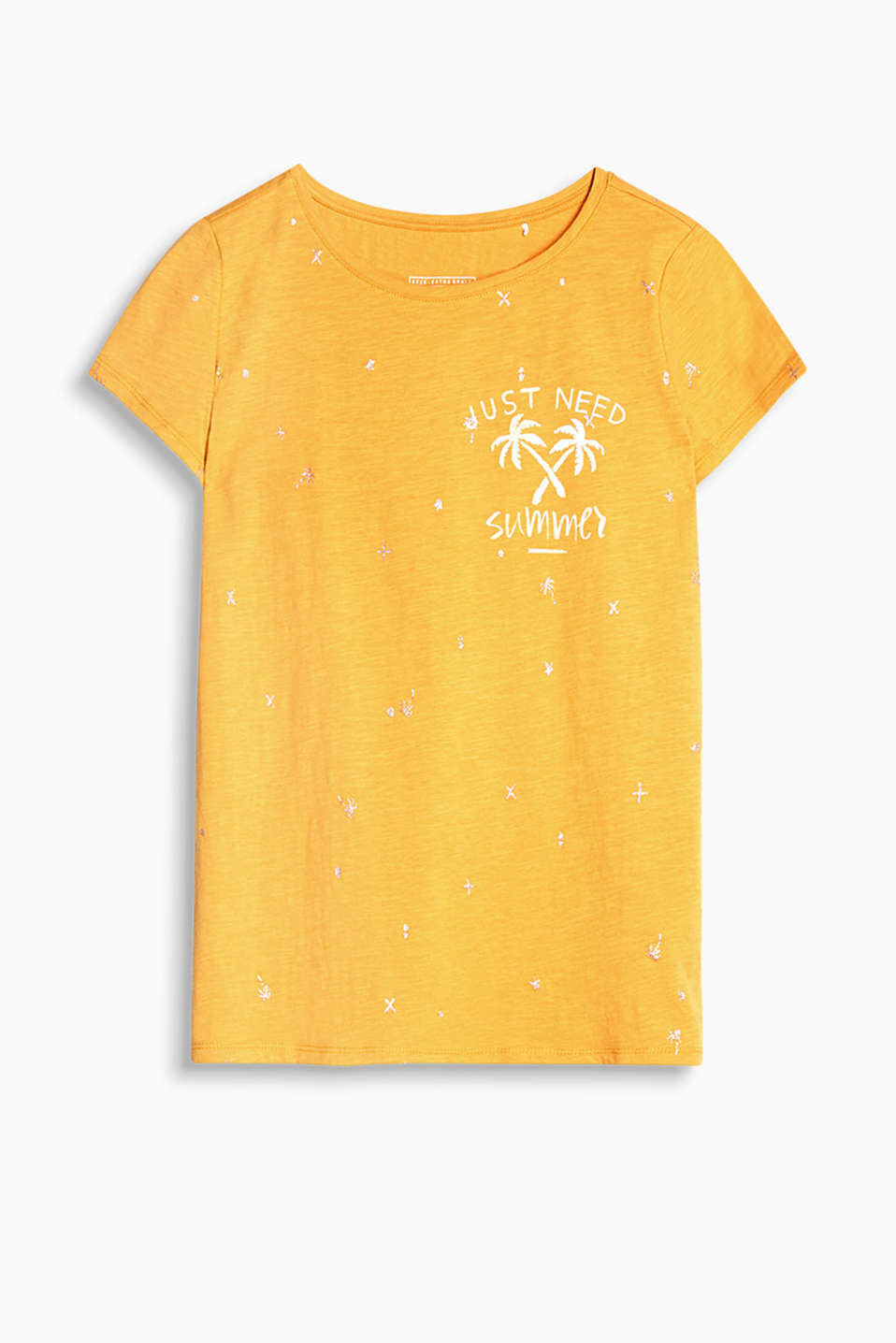 T-shirt with glittery printed motifs, made of textured cotton jersey