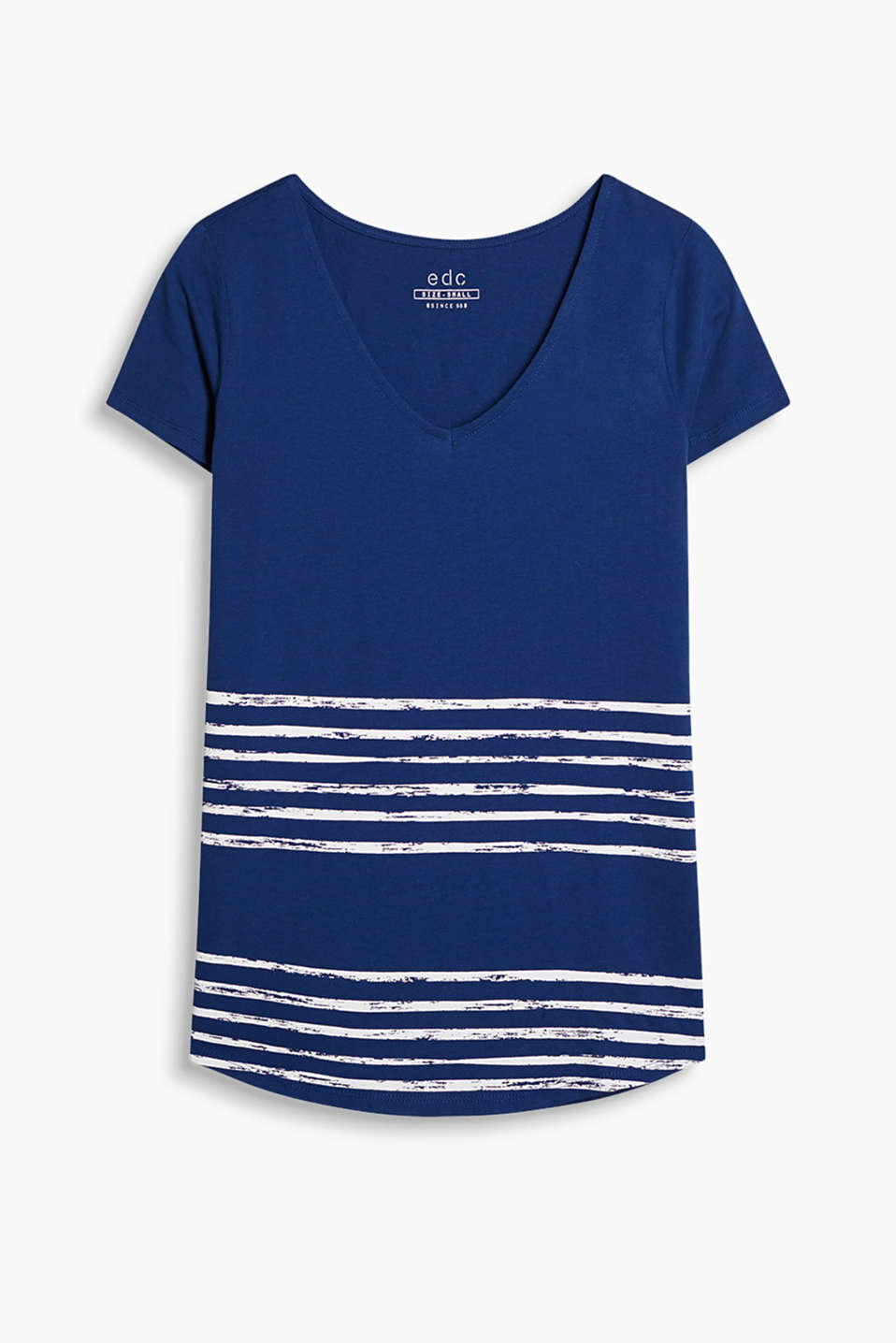 With stripes in a paintbrush look: V-neck T-shirt in soft cotton jersey