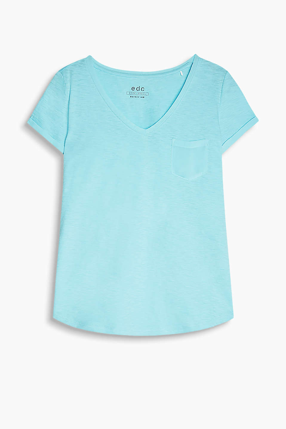 Soft cotton T-shirt with details in colour coordinating crêpe