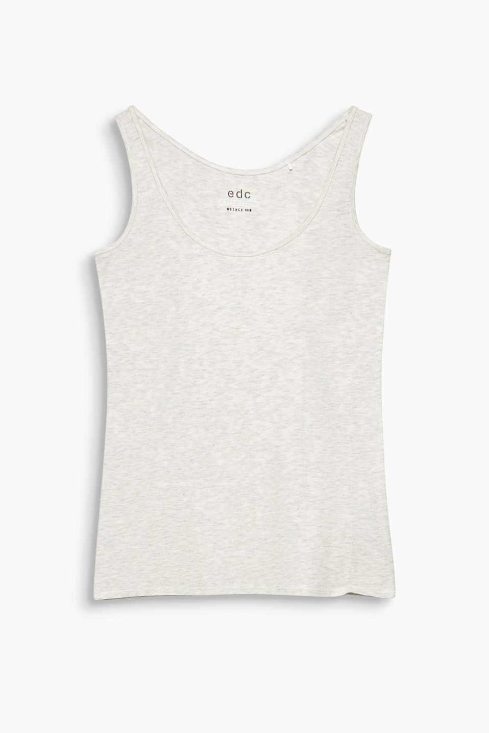 Fitted vest top in melange blended cotton with added stretch